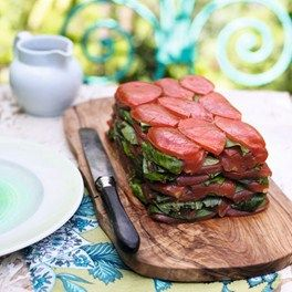 Beautiful Tomato Terrine -If it would hold together I might add a layer of quinoa and serve it for lunch