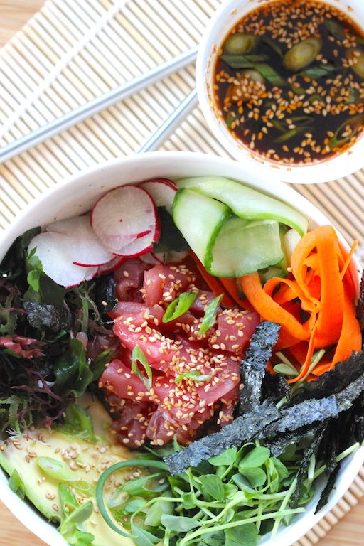 Sushi Bowl, without the mess or fuss of making sushi. Just mix in everything together and you have your self a tasty and super easy sushi bowl.