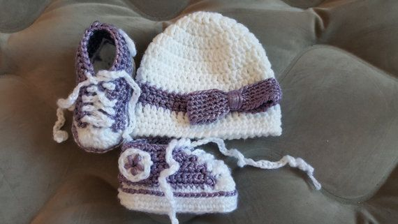 Hey, I found this really awesome Etsy listing at https://www.etsy.com/ca/listing/287610079/metallic-purple-crochet-baby-converse