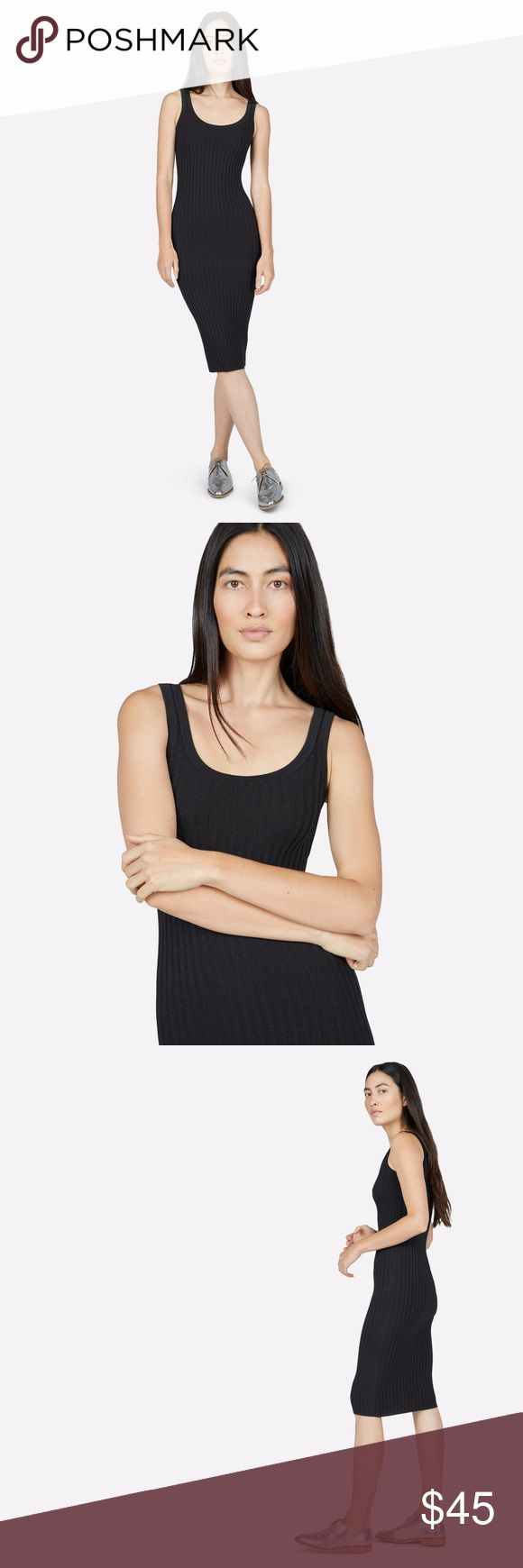 Everlane Black E2 Ribbed Midi Tank Dress size L This dress is from the E2 Capsule Collection!  Make an entrance. This fitted tank dress is made from a ribbed knit fabric with plenty of stretch, so it flatters curves—without being constricting.  Slim fit.  Material: 80% viscose; 20% nylon.  Measurements: 30 inch bust, 38 inch overall length - this dress has stretch to it so the bust size may increase; these measurements are taken with the dress unworn  Dry clean  Made in Dongguan, China…