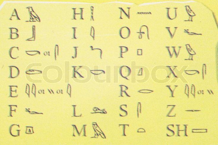 Stock foto af 'Egypten alfabet under den gule baggrund'