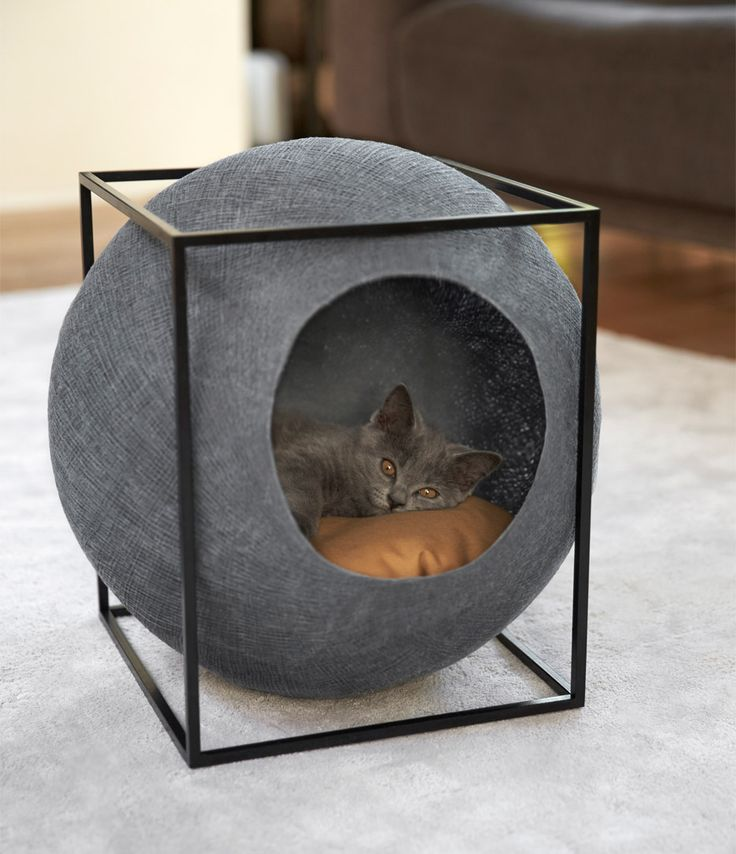 gray ball cat bed