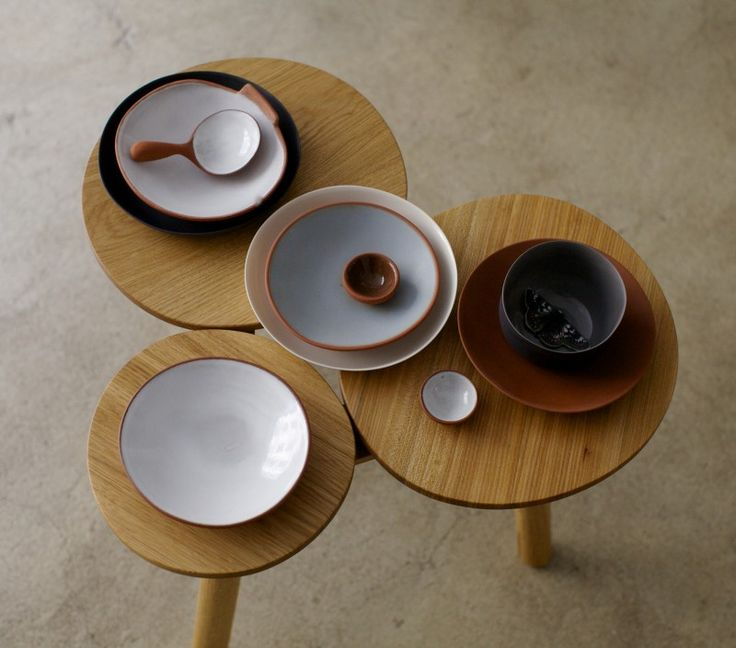Nathalie Lahdenmäki ceramics and July stool/table by Nikari at the SATO exhibition