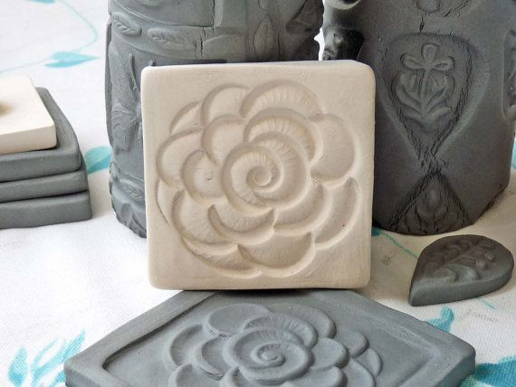 Clay Rose Sprig Mold Bisque Clay Stamp for Ceramic by claystamps
