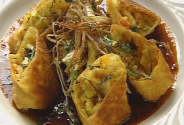 Caribbean Lobster Spring Rolls with Crisp Leeks and Red Curry - Honey Dipping Sauce by David Kendrick