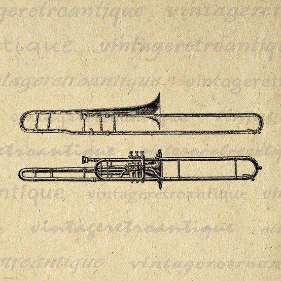 Printable Image Two Trombones Download Brass Instrument