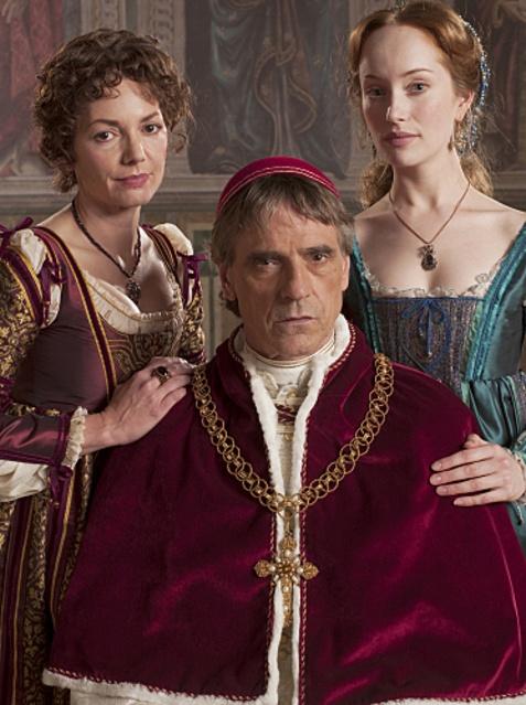 Joanne Whalley as Vanozza dei Cattanei, Jeremy Irons as Rodrigo Borgia, and Lotte Verbeek as Guilia Farnese