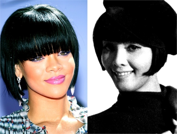 Bob hair cut with fringe: Vidal yesterday and today  The iconic haircuts by the famous hairstylist Vidal Sassoon continue to influence the looks of today's stars and celebrities