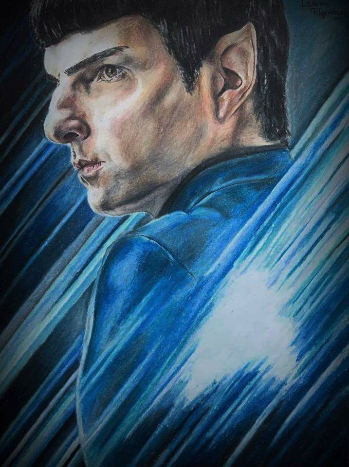 Colored pencil drawing of Mr. Spock (Zachary Quinto) from Star Trek: Beyond by Laura Filipovics (more: Filipovics Art).