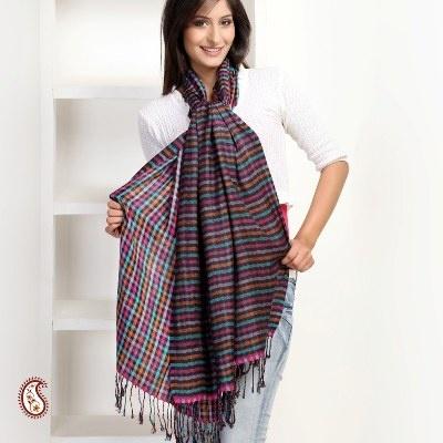 #Silk wool Checkered Stole
