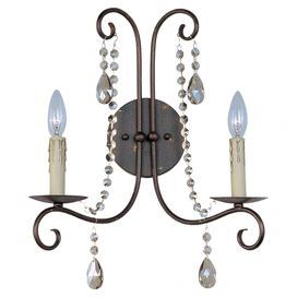 "Wall sconce with scrolling detail and cascading crystal accents.  Product: Wall sconceConstruction Material: Metal and crystalColor: Urban rustic and cognacAccommodates: (2) 120 Watt incandescent bulbs - not includedDimensions: 25"" H x 14"" W x 7.75"" D"