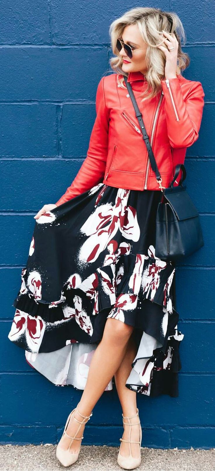 #spring #outfits  Red Leather Jacket & Black Flower Printed Skirt & Black Leather Shoulder Bag