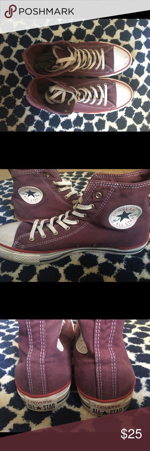 Maroon Converse Hightops High top converse. Worn twice, maroon color. Men's 8.5, women's 10.5 Converse Shoes Sneakers