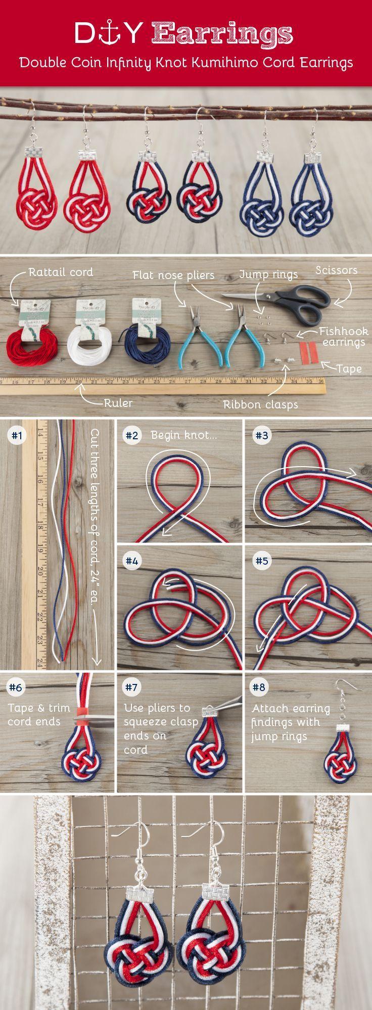 Double Coin Infinity Knot Kumihimo Cord Earrings
