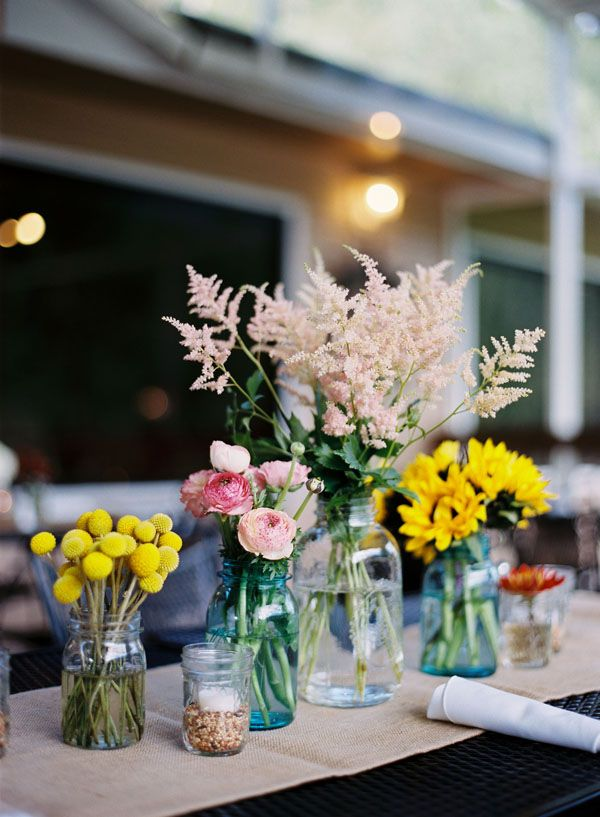 Mixed flower centerpieces