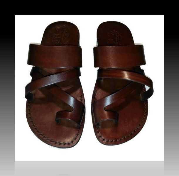 New Biblical Sandals Brown Strong Leather Jesus Shoes Women Flip Flop Size 5-10 #Camel #FlipFlops