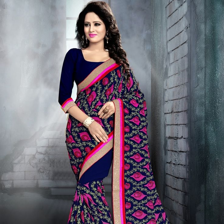 Shop Beautiful Blue Fine Georgette Saree.  #saree #georgette #blue #fashion #style