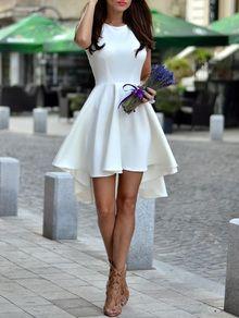 Vestido sin manga asimétrico con vuelo -blanco