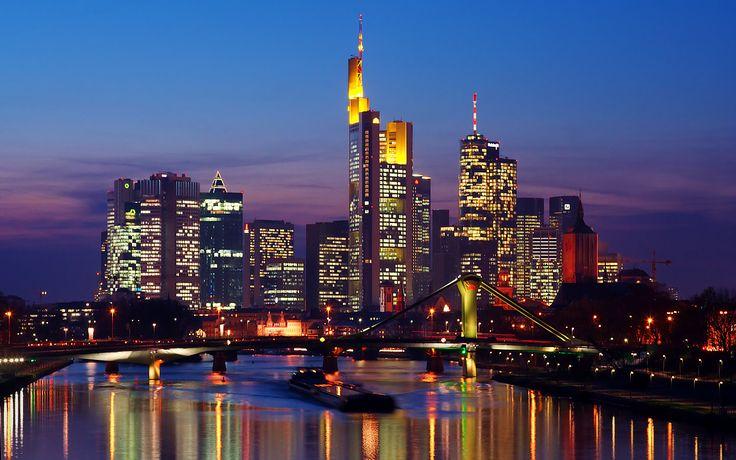 Skyline at Night Frankfurt Wallpaper HD #8298