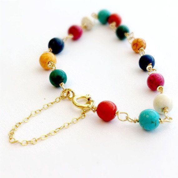 Turquoise Bracelet Yellow Gold Jewelry Color by jewelrybycarmal, $35.00