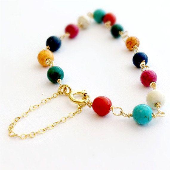 Turquoise Bracelet Turquoise Jewelry Yellow por jewelrybycarmal