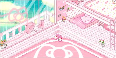 ❀•. .♥ K a w a i i ♥. .please click to see the animation ~•❀ pixel scene, kawaii pink pastel Hello Kitty bedroom in the rain, cute pixel animation gif
