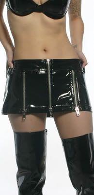 "LIP SERVICE Patent Vinyl And Vegi Leather Classics ""Round and Round"" mini skirt #38-482 - black pvc size 9"