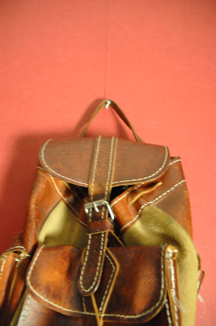 vintage backpack leather brown medium size backpack by VirtageVintage on Etsy
