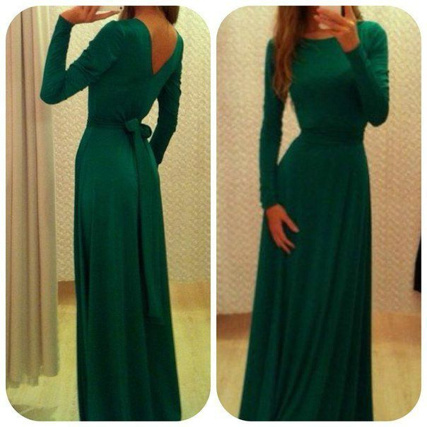 Modest Prom Dress With Sash Long Sleeves Green Formal Evening Dresses. Love this!!