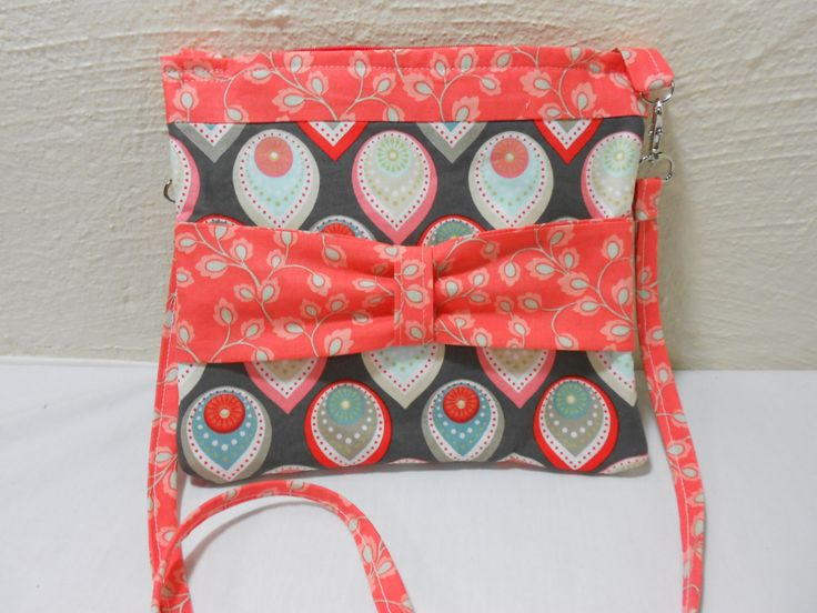Soft Fabric Cell Phone Cross Body Purse, Girls, Teens Purse 8-1/2 x 9 Coral, Taupe, Turqoise Print Cute! by KitschMomma on Etsy