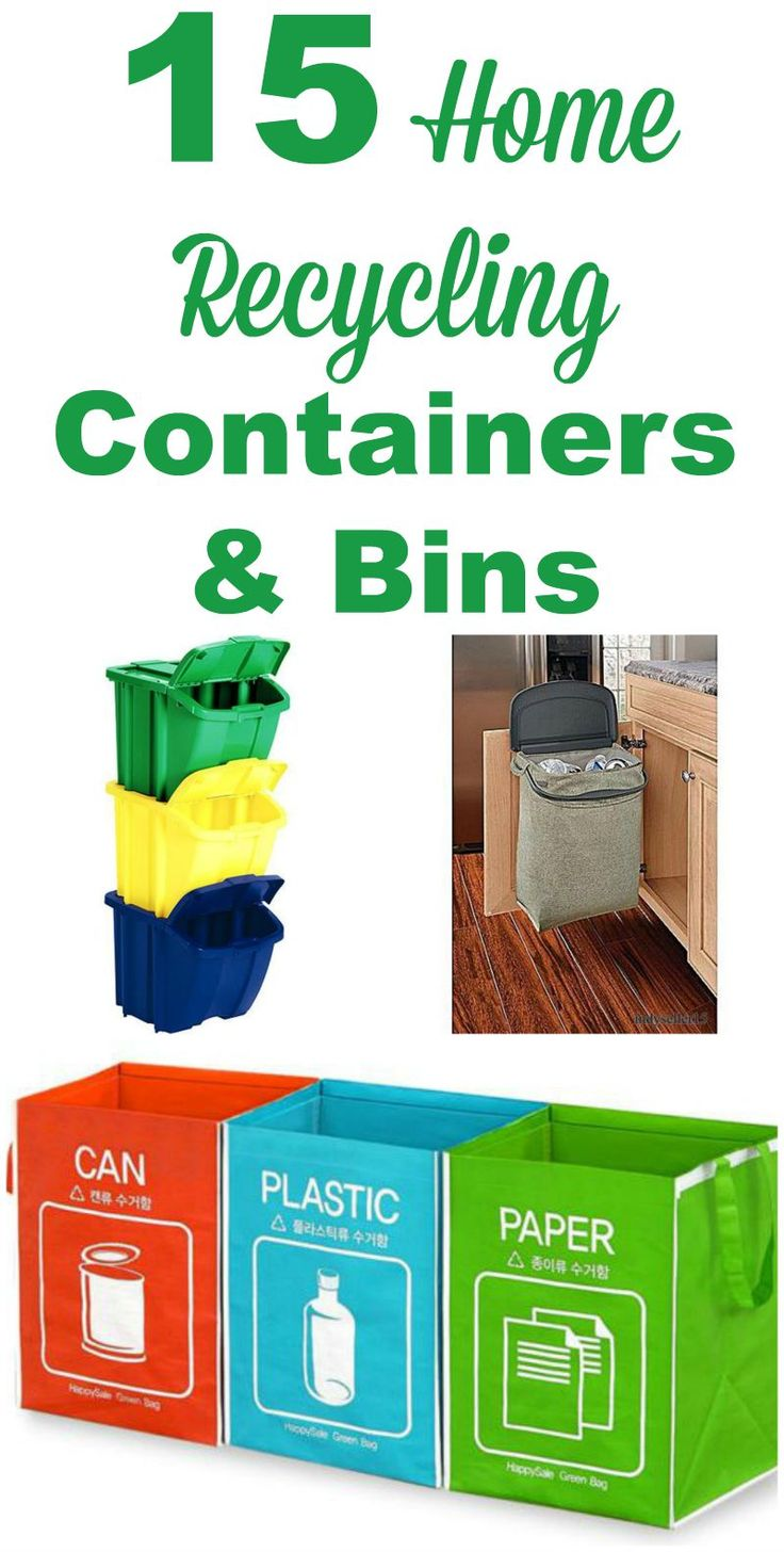 15 home recycling containers and bins you can use to make recycling more convenient and attractive. Also includes ideas for compost. #ad