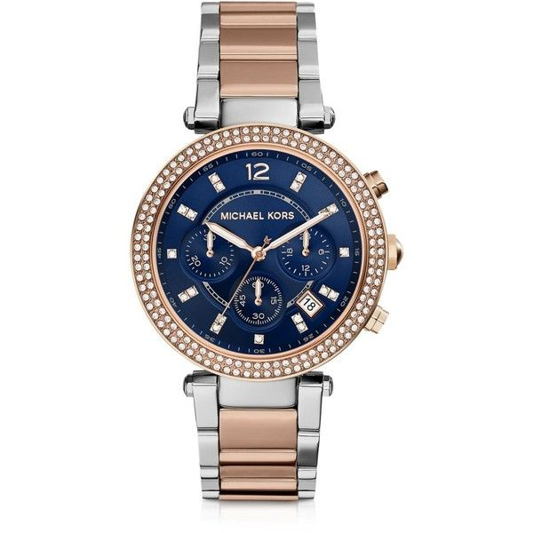 Michael Kors Women's Watches Parker Two Tone Stainless Steel Women's... (1,185 SAR) ❤ liked on Polyvore featuring jewelry, watches, gold, women's watches, stainless steel wrist watch, michael kors, stainless steel watches, chronograph watches y sparkle jewelry