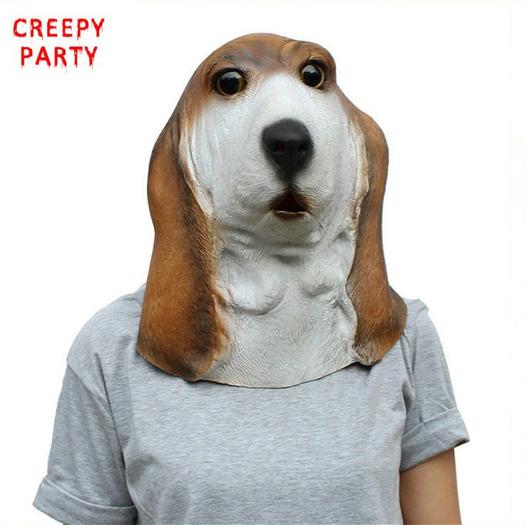 Full Face Animal Latex Mask Adults Basset Hound Dog Head Party Masks Cosplay Masquerade Fancy Dress Party For Halloween Mask