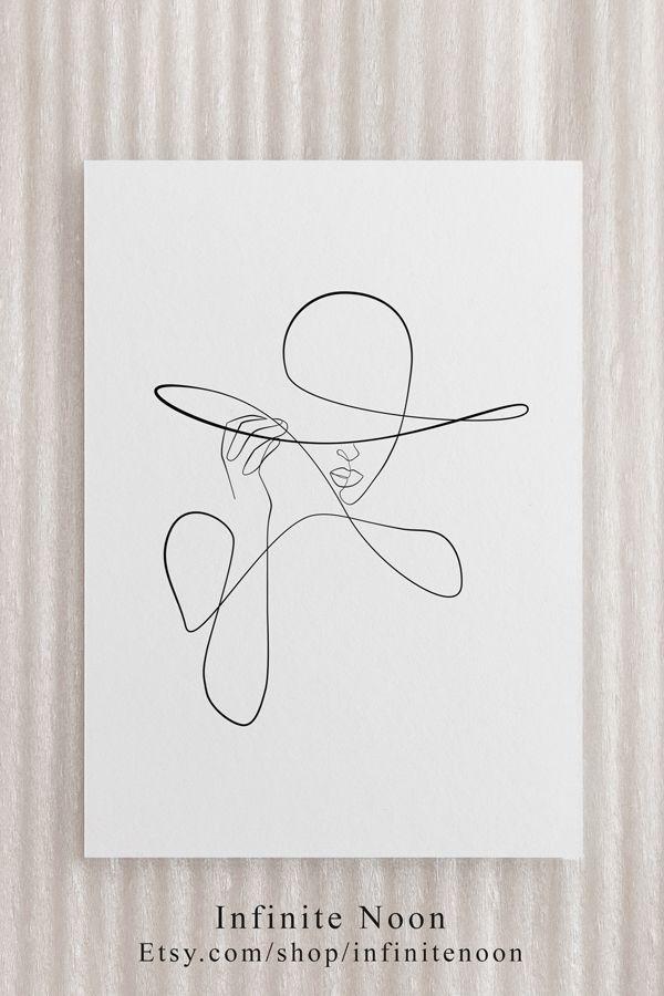 Woman Fashion Illustration Print Fashion Wall Art Feminine One Line Drawing Mini… – 🦋HELEN🦋