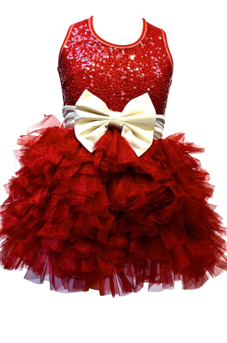 "Ooh La La Couture Wow ""Dream"" Holiday Red Sequin Dress w/Ivory BowSizes 12M-12"