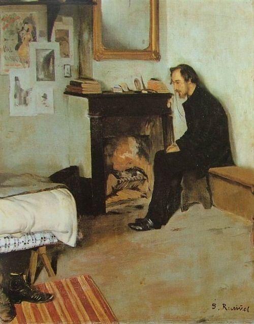 """""""The Bohemian"""" (Erik Satie in his studio in Montmartre) by Santiago Rusinol (1891) ~Via Samy Odin"""