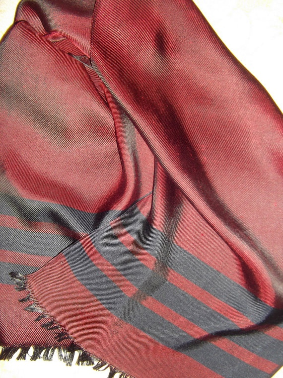 Burgundy twill silk  vintage muffler  burgundy color by CHEZELVIRE, $12.00