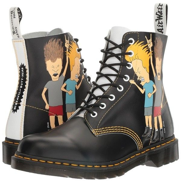 Dr. Martens Beavis and Butt-Head Pascal (Black/White B&B... ($150) ❤ liked on Polyvore featuring shoes, boots, ankle boots, slip resistant shoes, black and white shoes, black and white ankle boots, black and white boots and lace up bootie