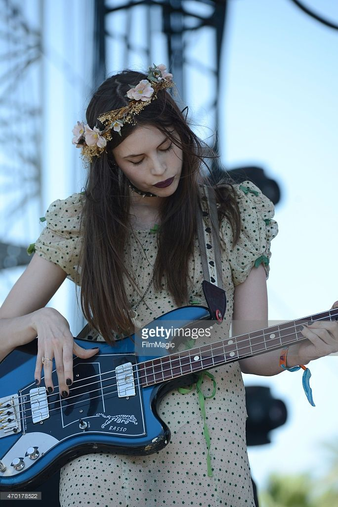 Bass player Charlotte Kemp Muhl of The Ghost of a Saber Tooth Tiger performs onstage at the 2015 Coachella Music Festival at The Empire Polo Club on April 17, 2015 in Indio, California.