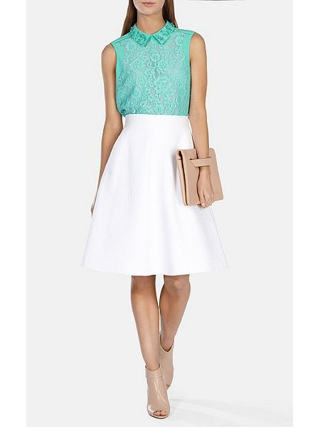 Beaded collar lace top