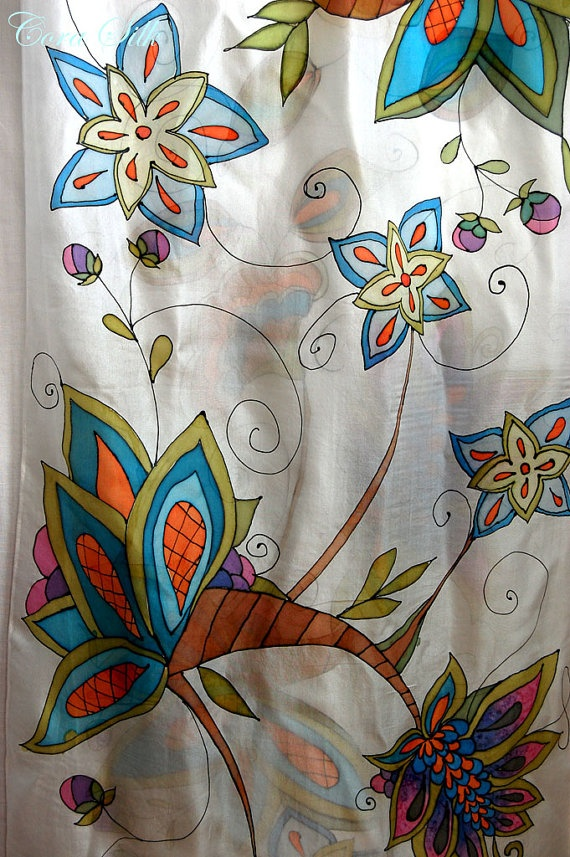 Hand Painted Silk Scarf. Graphic Silk Scarf by Bettineum on Etsy, $75.00
