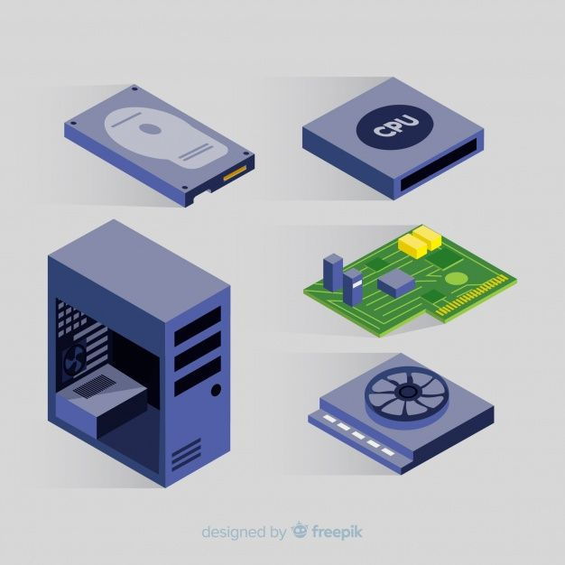 Download Modern Cpu Collection With Isometric View For Free Vector Free Isometric Free Vector Clipart