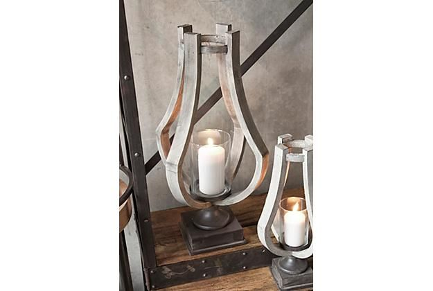 Vintage casual home decor with glass candle holders that have a metal and wood decorative exterior. View 1