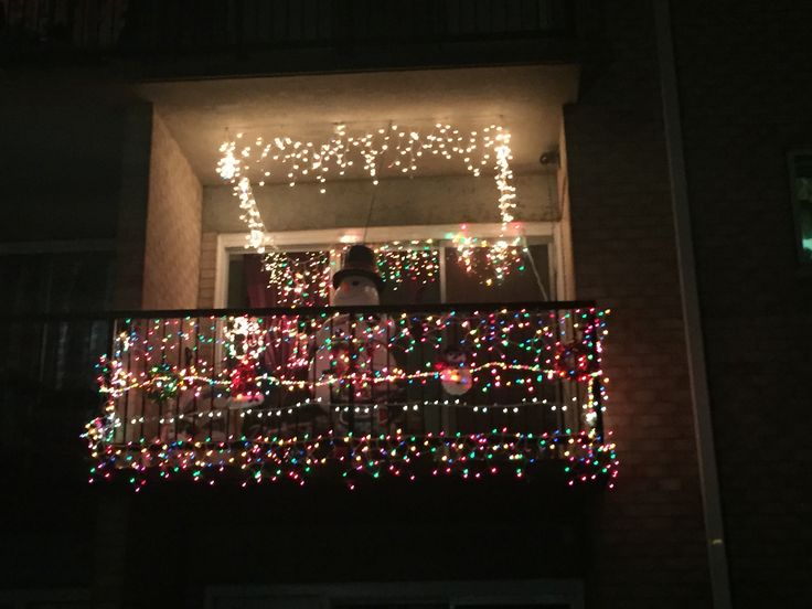 7 best christmas balcony images on pinterest apartment for Patios decorated for christmas