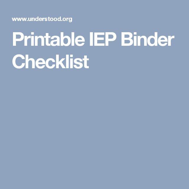 Printable IEP Binder Checklist