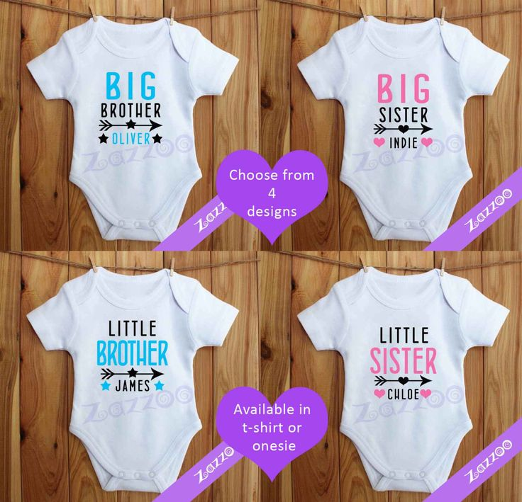 Big or Little Brother or Sister T-shirt / Onesie, Sibling T-shirt, Pregnancy Announcement Tshirt by Zazzoo on Etsy