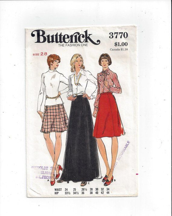 3770 From 28 Size Lengths Butterick For 3 In Skirt Pattern Misses' dad71q