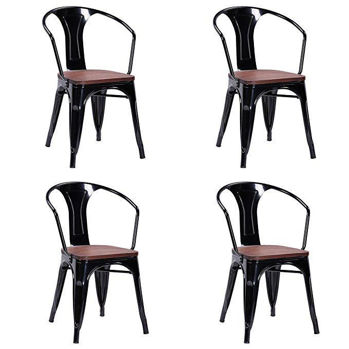 Costway Tolix Style Dining Chairs Industrial Metal Stackable Armrest Chairs Bistro Metal Wood Stool Furniture Industrial Dining Chairs Wood Stool Dining Chairs