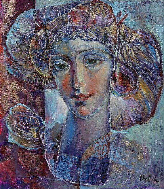 Small Original Painting 35x40cm Acrylic colors Modern Art on canvas by Inna Orlik