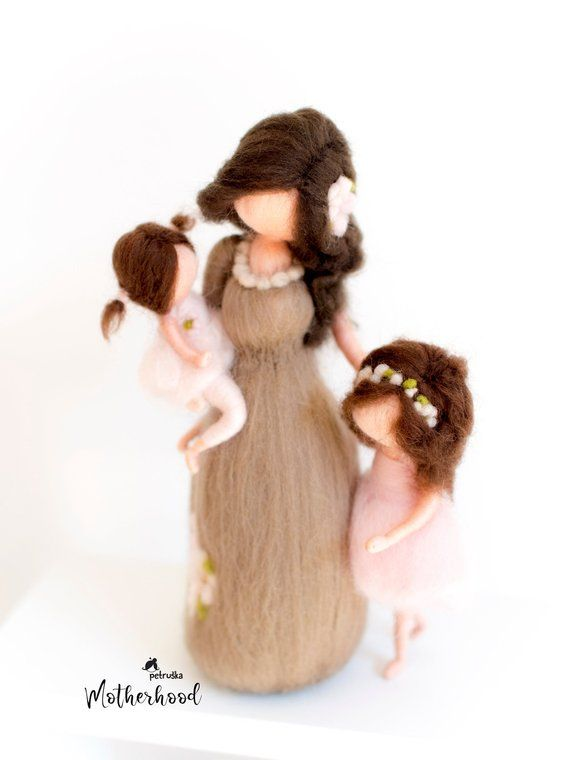 Needle felted Mother with daughters soft sculpture, Family portrait